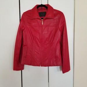 NWOT Alfani Genuine Leather Jacket Red